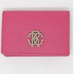 Robert Cavalli Pink Logo Charm Wallet